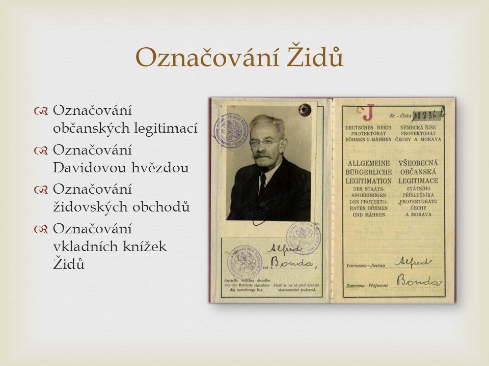 Označování Židů Označování občanských legitimací