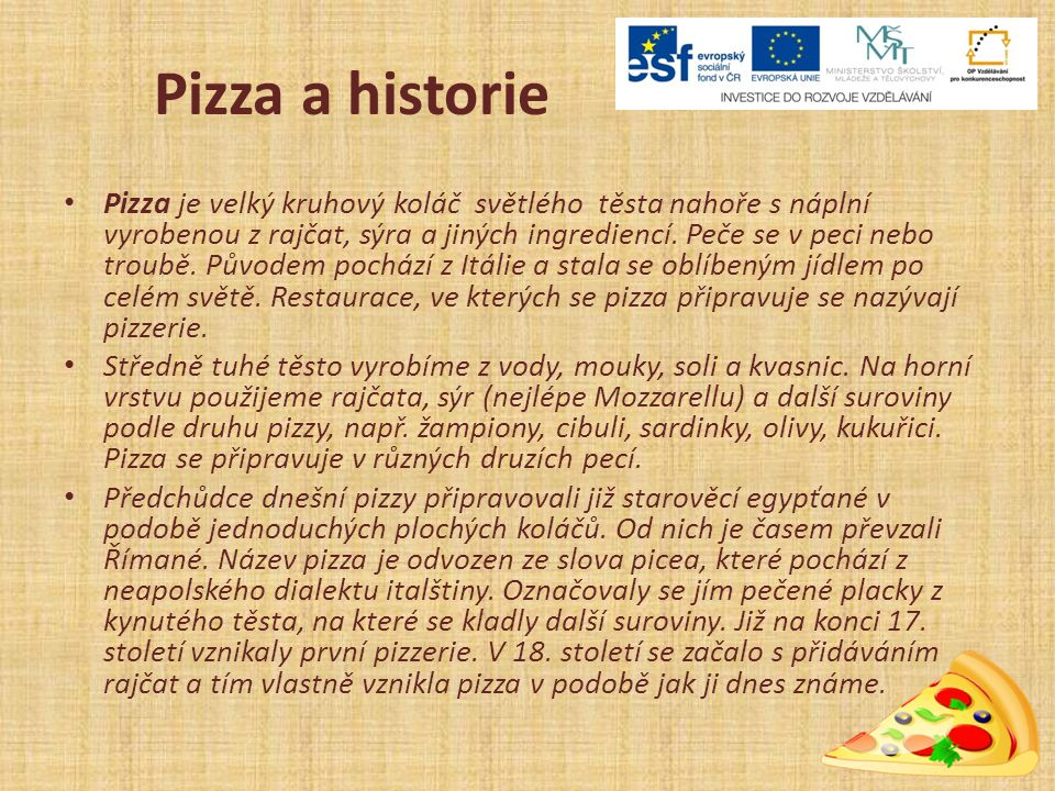 Pizza a historie