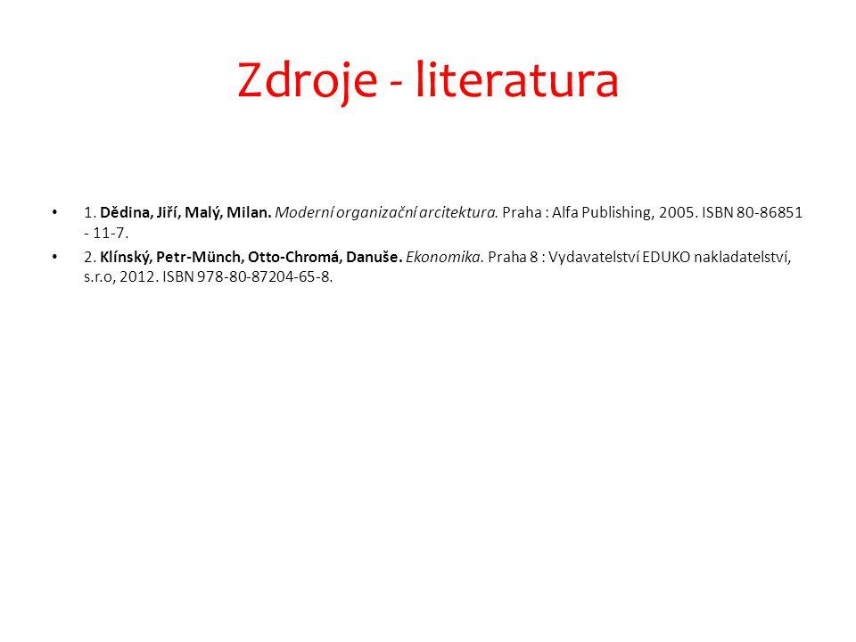 Zdroje - literatura 1. Dědina, Jiří, Malý, Milan. Moderní organizační arcitektura. Praha : Alfa Publishing, 2005. ISBN 80-86851 - 11-7.