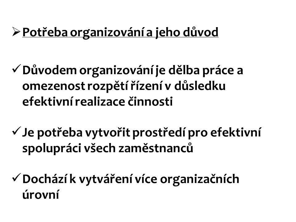 Potřeba organizování a jeho důvod