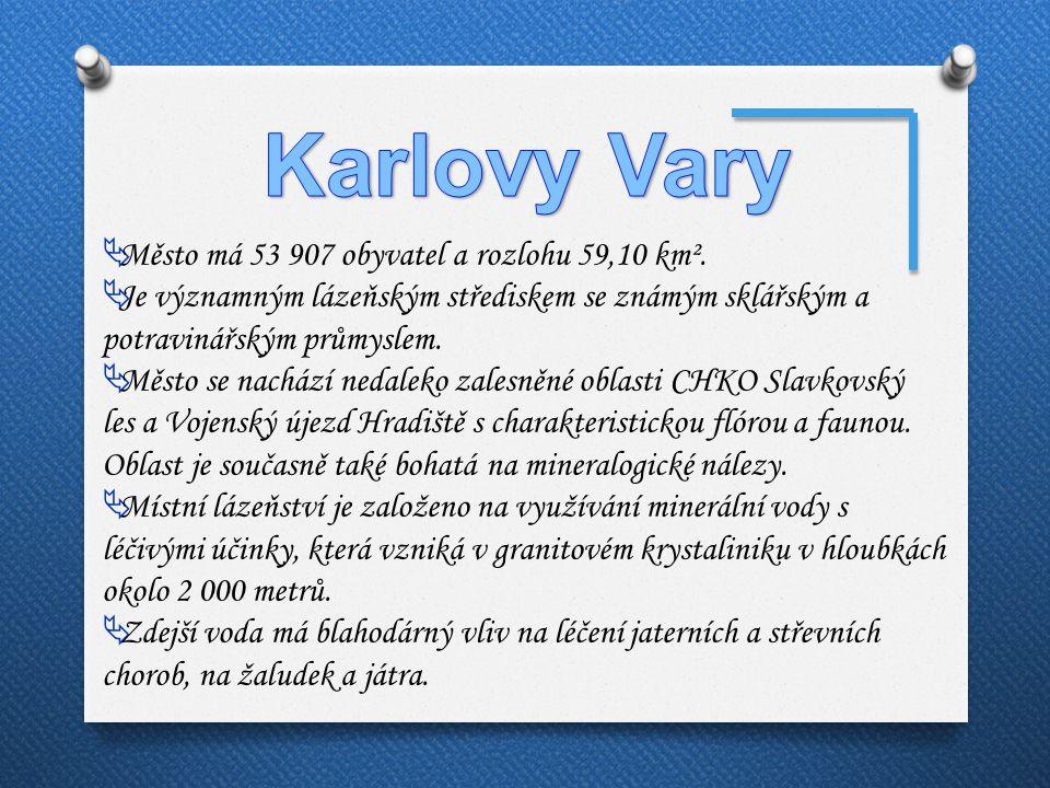 Karlovy Vary Město má 53 907 obyvatel a rozlohu 59,10 km².