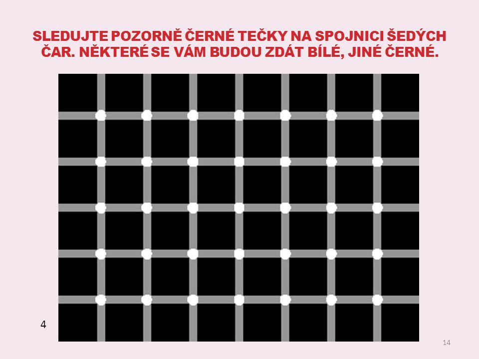 Sledujte pozorně černé tečky na spojnici šedých čar