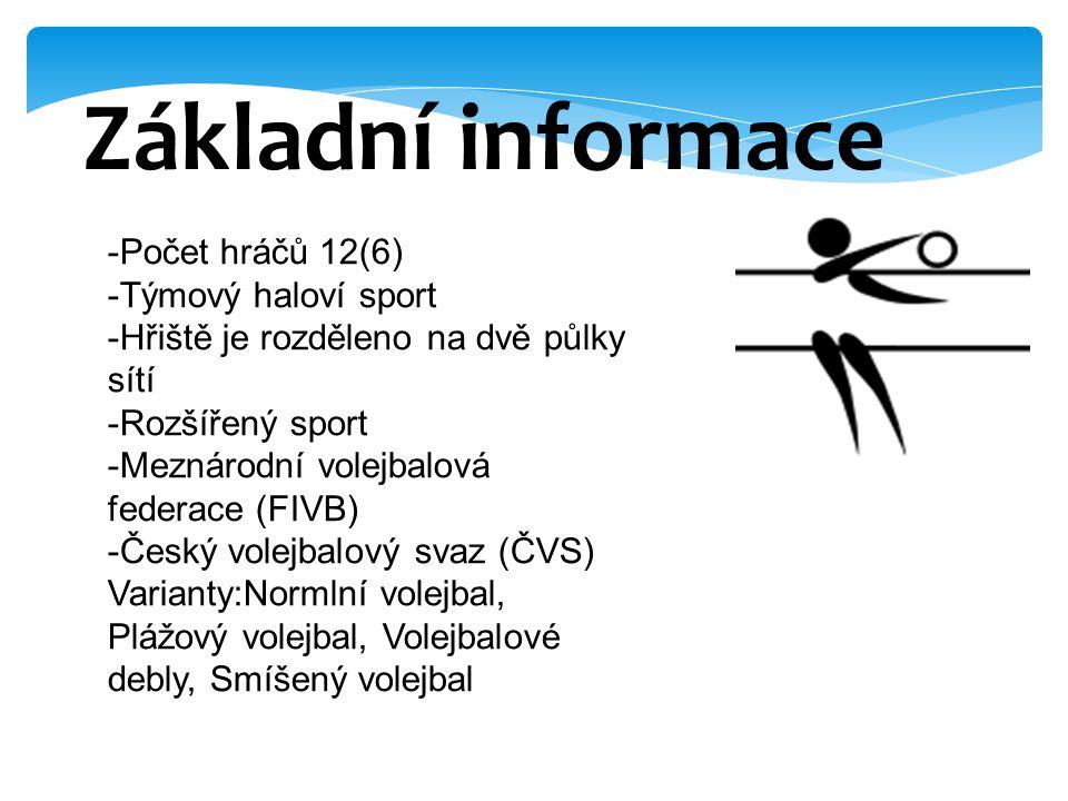 Základní informace -Počet hráčů 12(6) -Týmový haloví sport