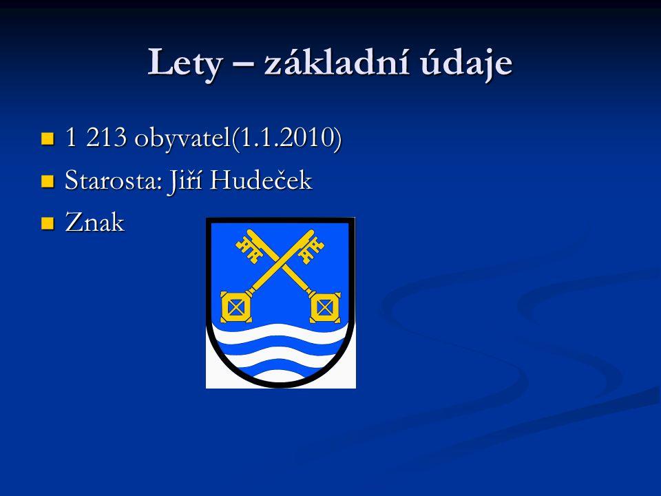 Lety – základní údaje 1 213 obyvatel(1.1.2010) Starosta: Jiří Hudeček