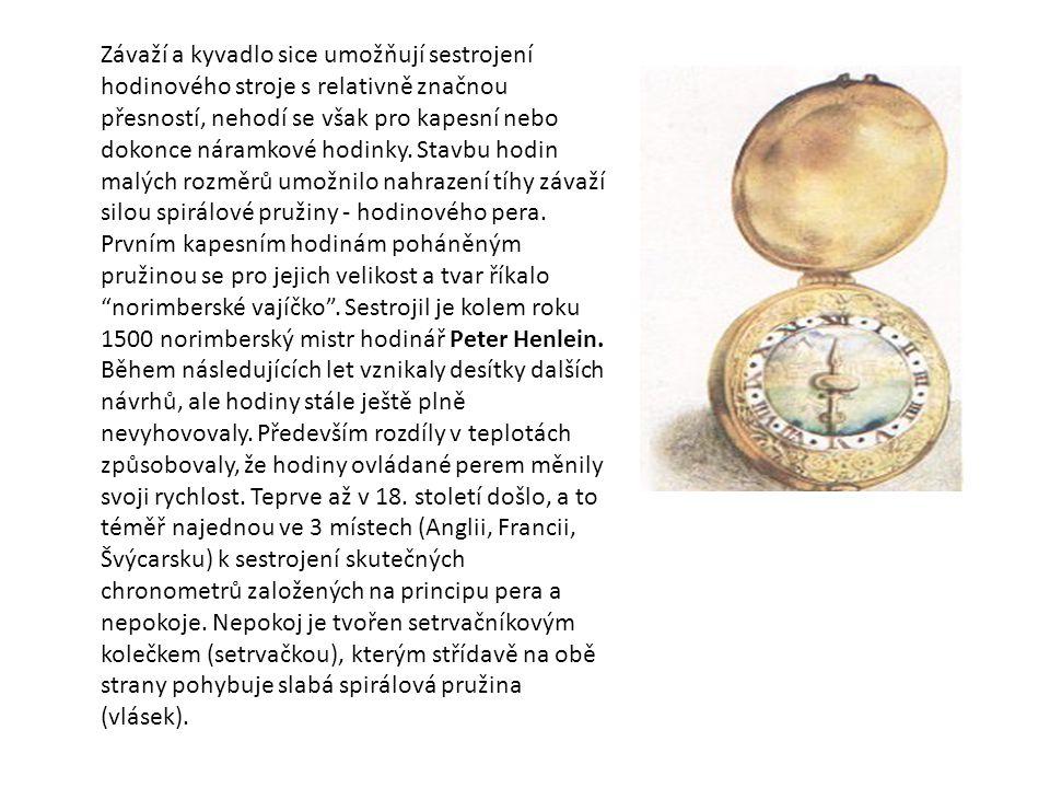 Závaží a kyvadlo sice umožňují sestrojení hodinového stroje s relativně značnou přesností, nehodí se však pro kapesní nebo dokonce náramkové hodinky.