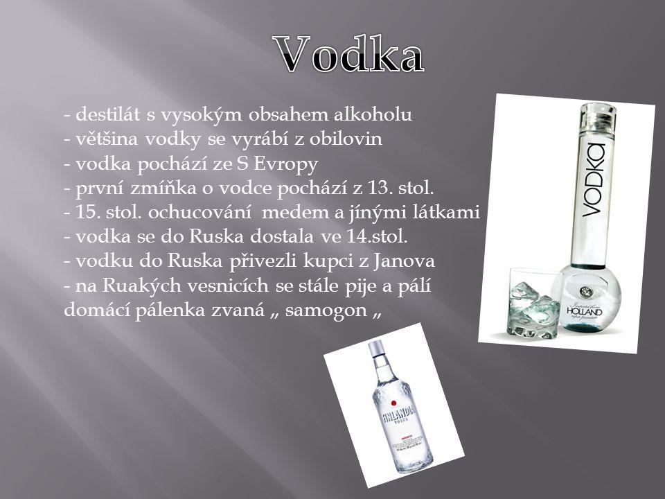 Vodka destilát s vysokým obsahem alkoholu