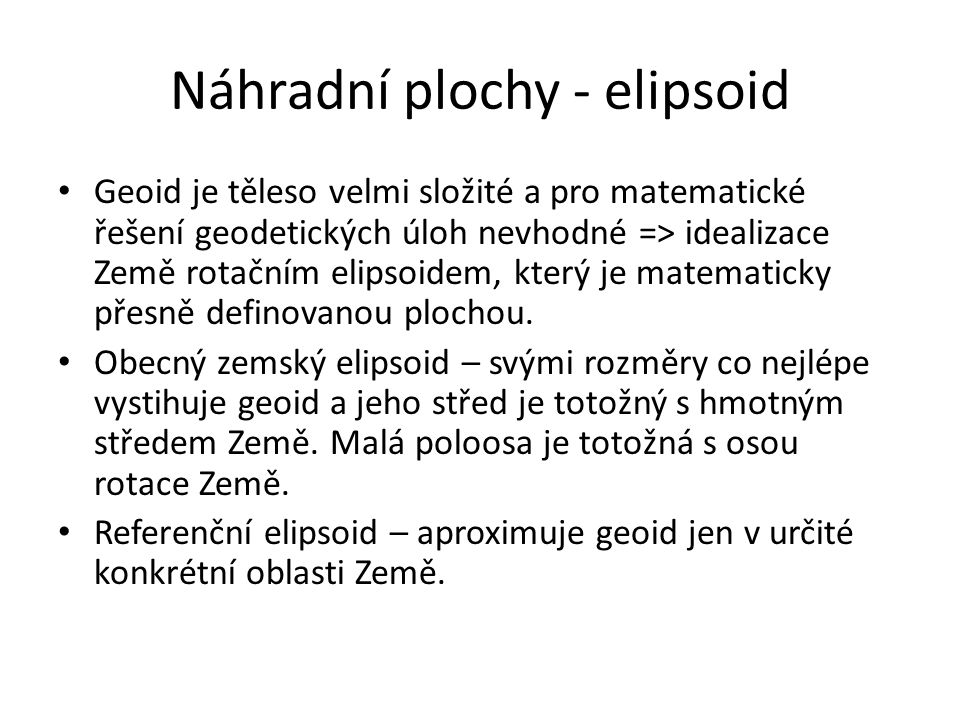 Náhradní plochy - elipsoid