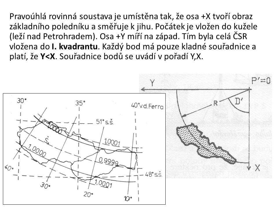 Pravoúhlá rovinná soustava je umístěna tak, že osa +X tvoří obraz základního poledníku a směřuje k jihu.