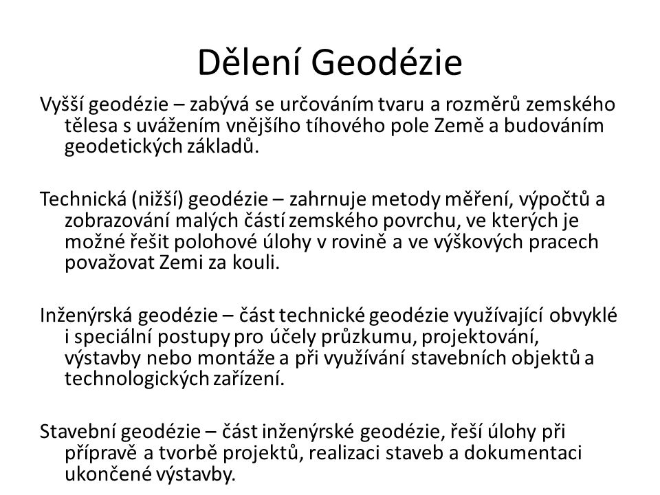 Dělení Geodézie