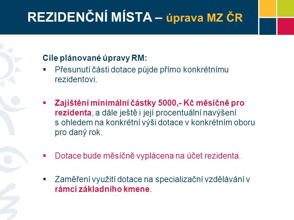 REZIDENČNÍ MÍSTA – úprava MZ ČR