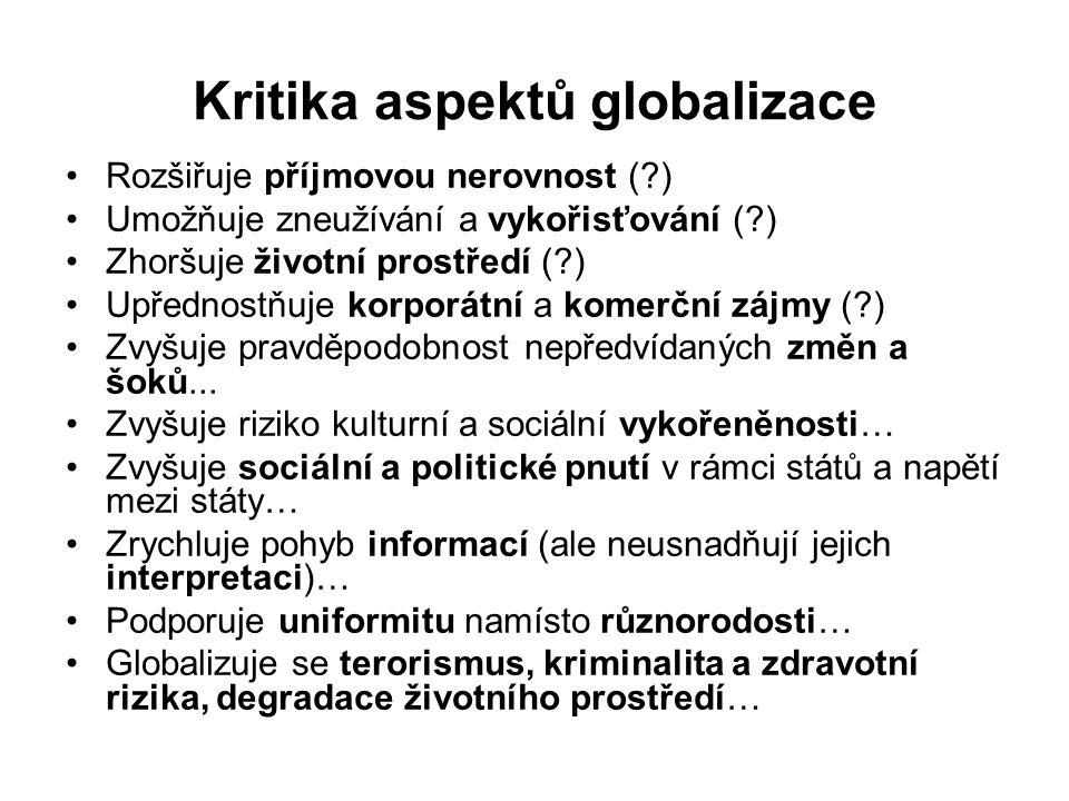 Kritika aspektů globalizace