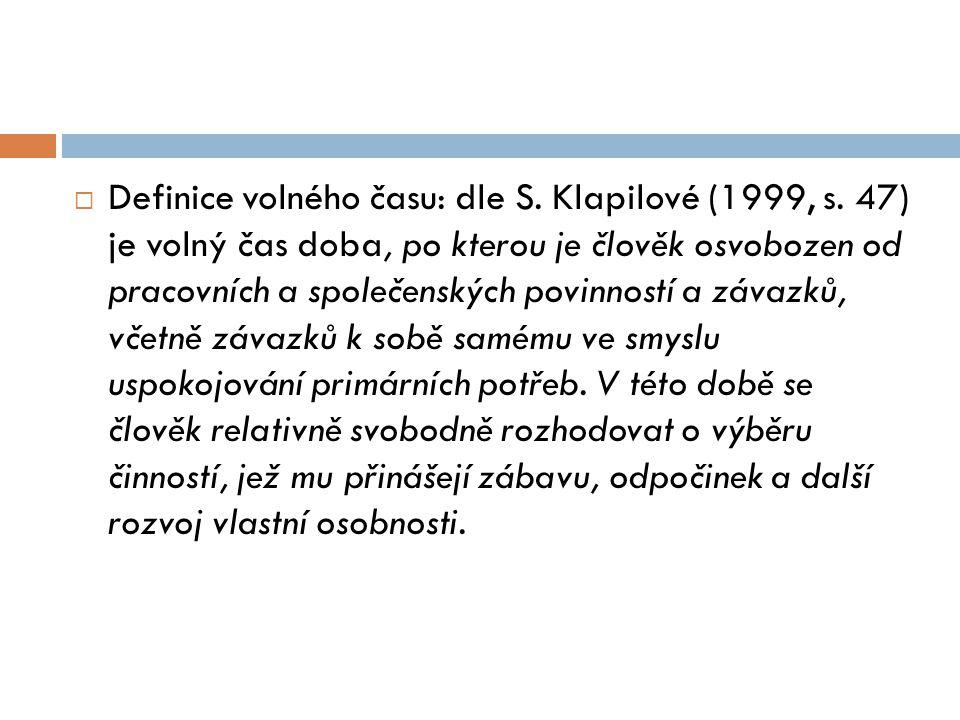 Definice volného času: dle S. Klapilové (1999, s