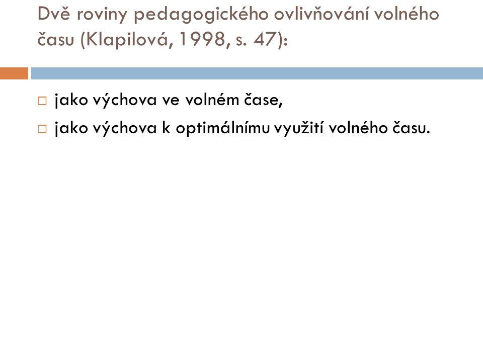Dvě roviny pedagogického ovlivňování volného času (Klapilová, 1998, s