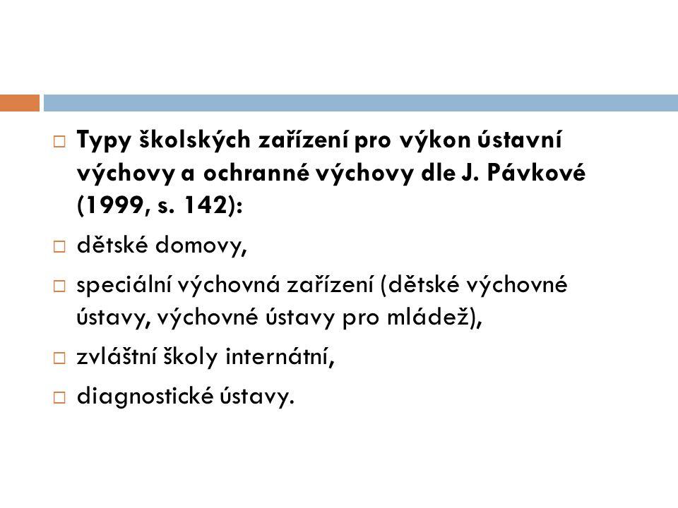 Typy školských zařízení pro výkon ústavní výchovy a ochranné výchovy dle J. Pávkové (1999, s. 142):