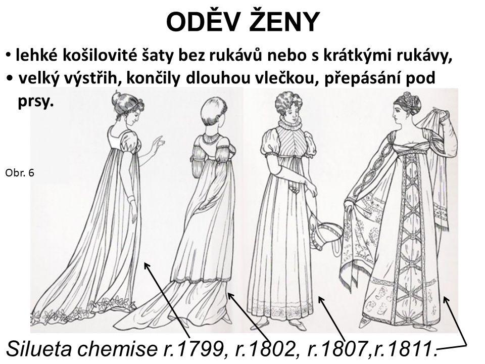 ODĚV ŽENY Silueta chemise r.1799, r.1802, r.1807,r.1811.