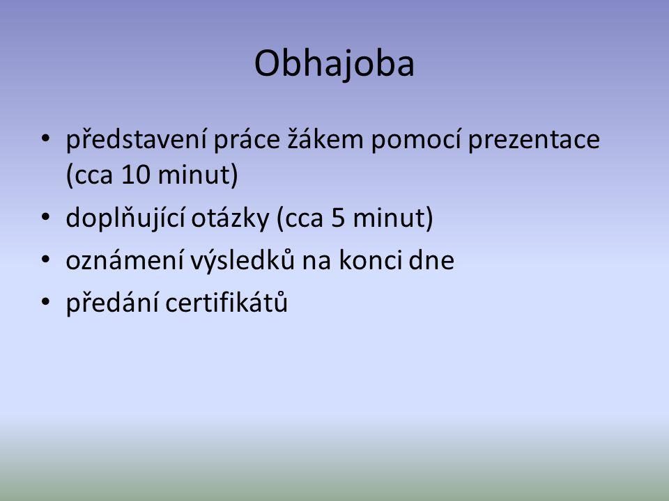 Obhajoba představení práce žákem pomocí prezentace (cca 10 minut)