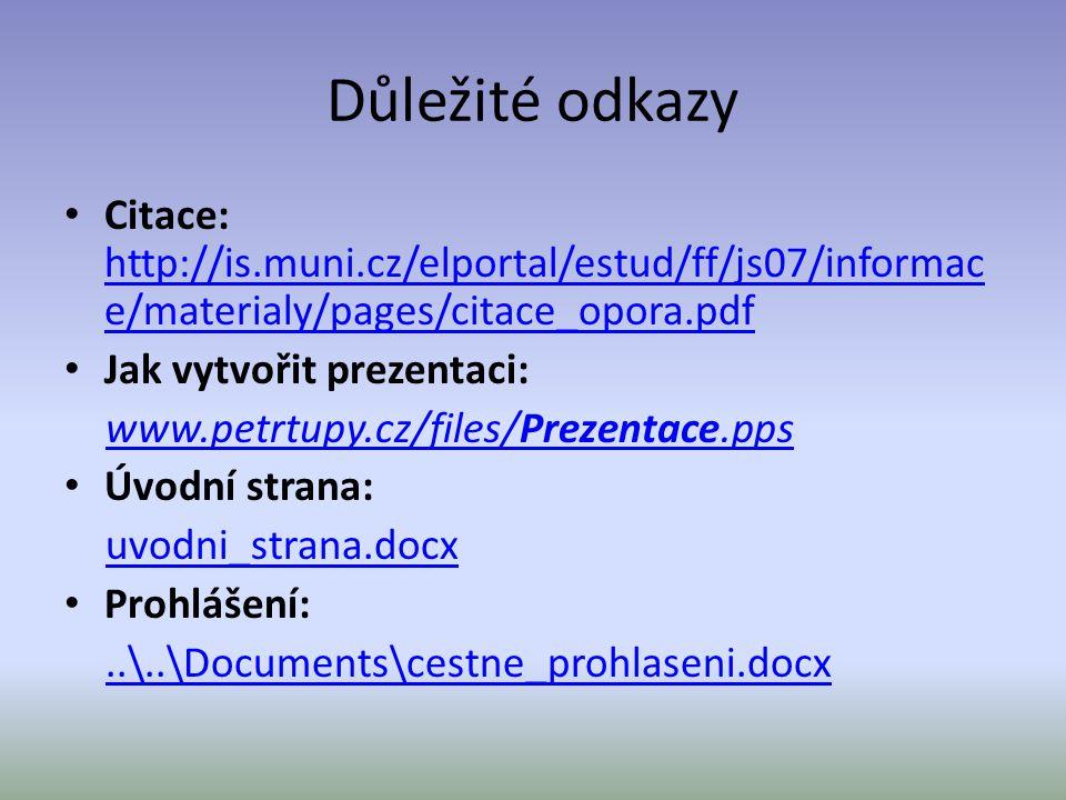 Důležité odkazy Citace: http://is.muni.cz/elportal/estud/ff/js07/informace/materialy/pages/citace_opora.pdf.