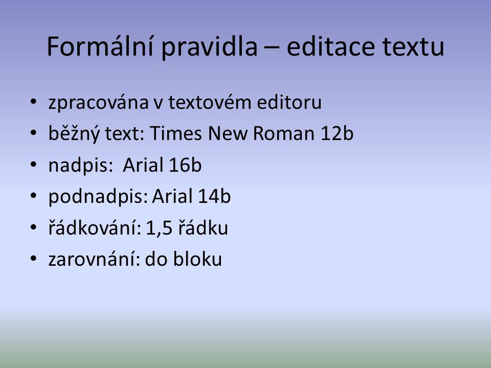 Formální pravidla – editace textu