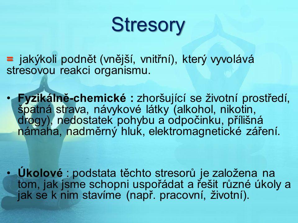 Stresory = jakýkoli podnět (vnější, vnitřní), který vyvolává stresovou reakci organismu.