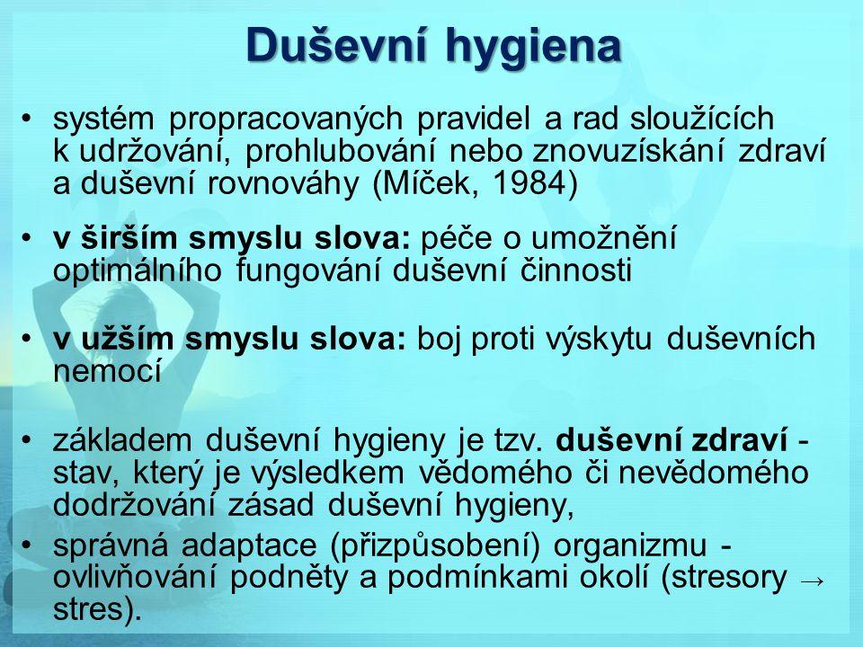 Duševní hygiena systém propracovaných pravidel a rad sloužících k udržování, prohlubování nebo znovuzískání zdraví a duševní rovnováhy (Míček, 1984)