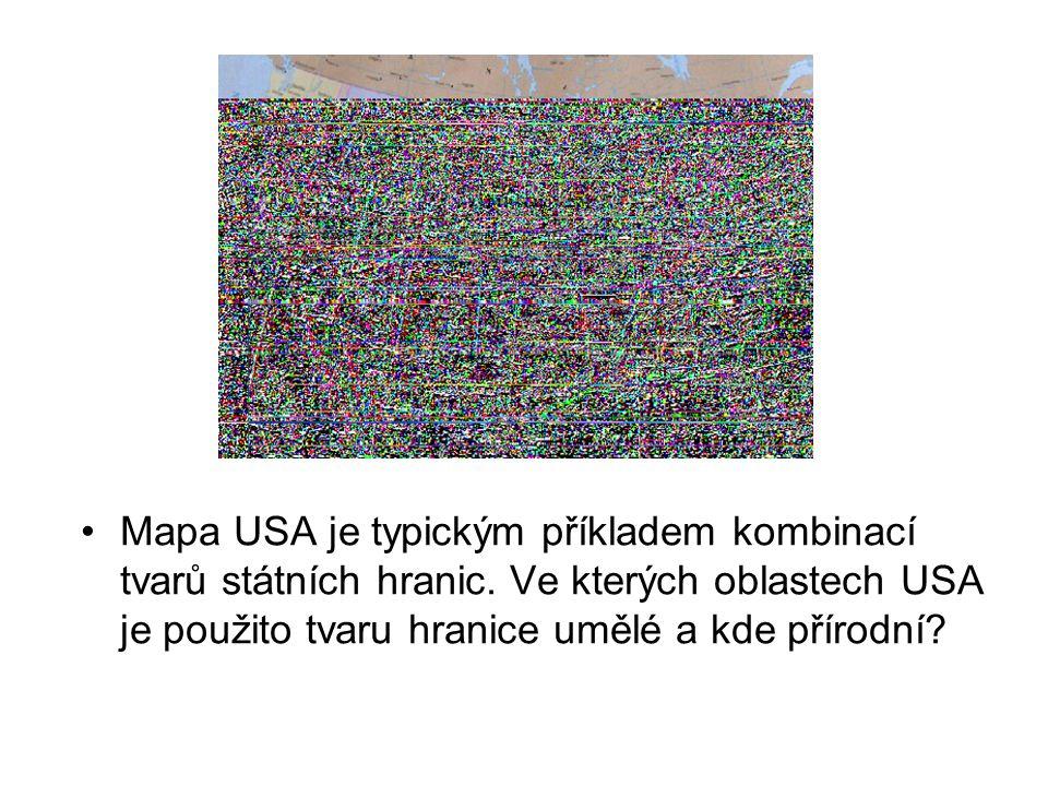 Mapa USA je typickým příkladem kombinací tvarů státních hranic