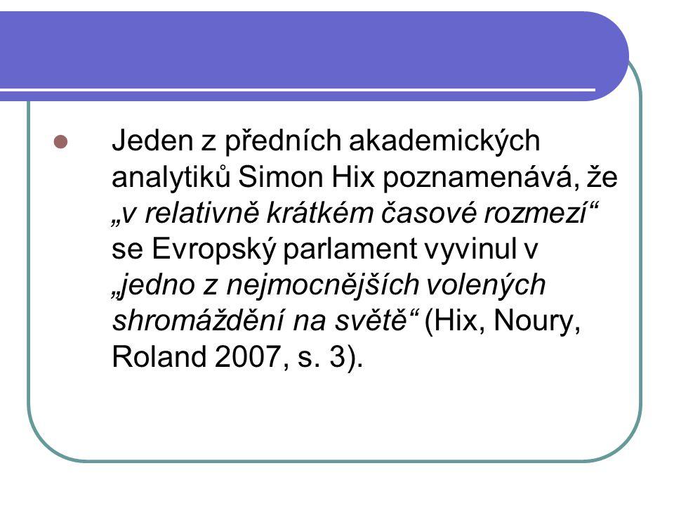 """Jeden z předních akademických analytiků Simon Hix poznamenává, že """"v relativně krátkém časové rozmezí se Evropský parlament vyvinul v """"jedno z nejmocnějších volených shromáždění na světě (Hix, Noury, Roland 2007, s."""