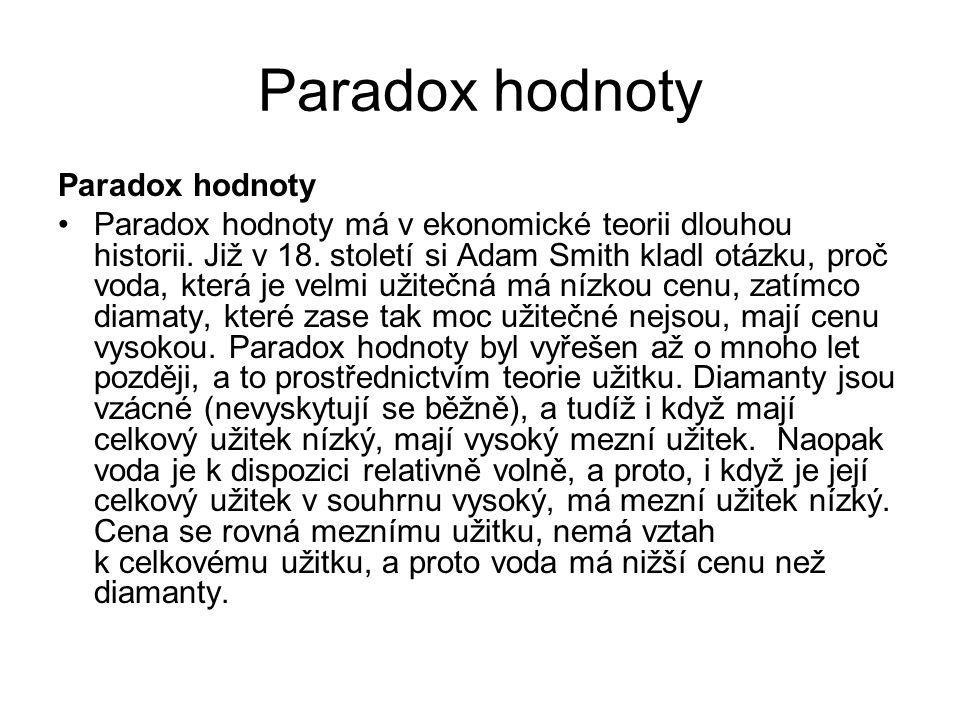 Paradox hodnoty Paradox hodnoty