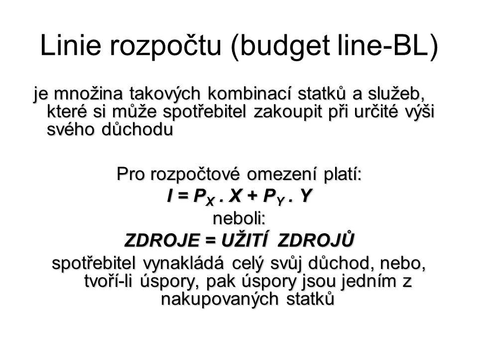 Linie rozpočtu (budget line-BL)
