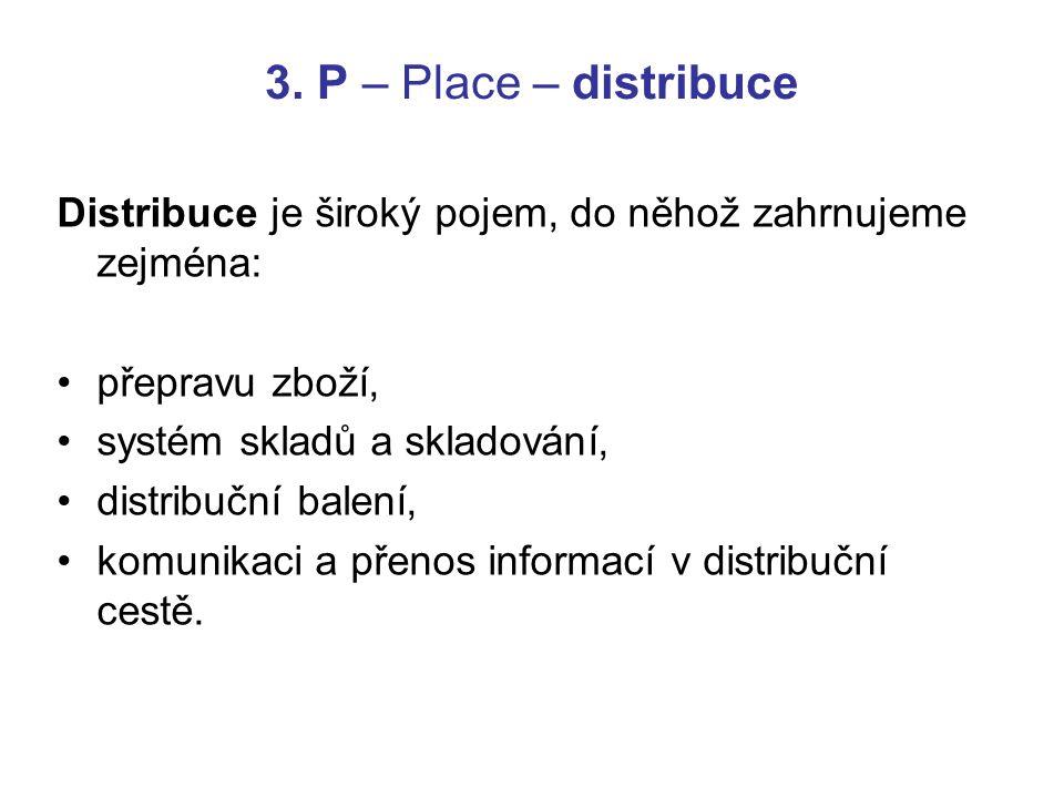 3. P – Place – distribuce Distribuce je široký pojem, do něhož zahrnujeme zejména: přepravu zboží,