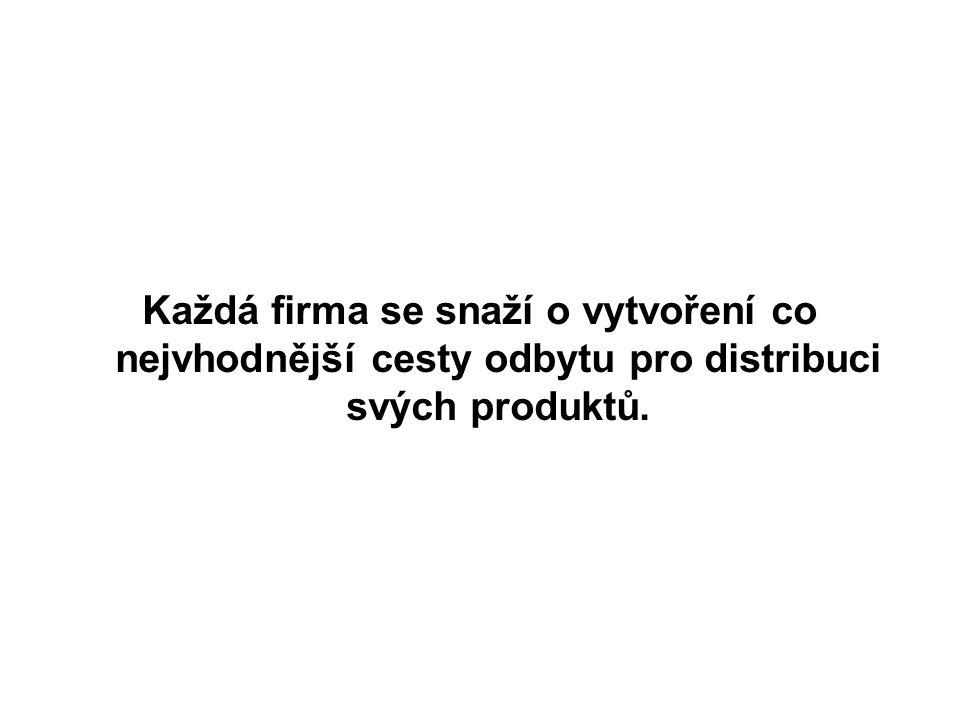 Každá firma se snaží o vytvoření co nejvhodnější cesty odbytu pro distribuci svých produktů.