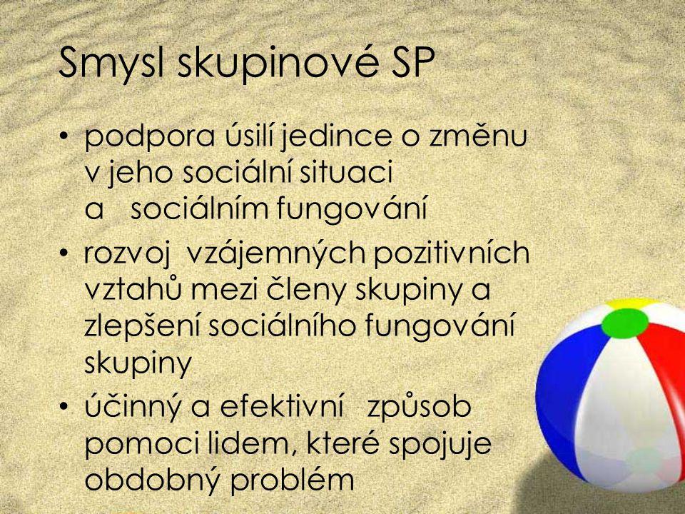 Smysl skupinové SP podpora úsilí jedince o změnu v jeho sociální situaci a sociálním fungování.