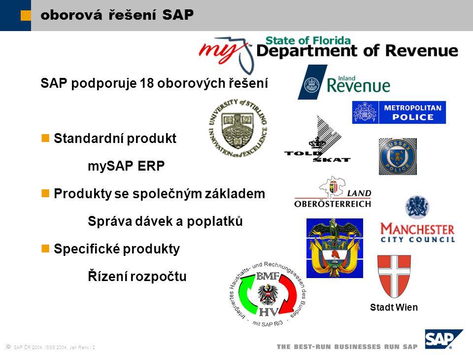 oborová řešení SAP SAP podporuje 18 oborových řešení