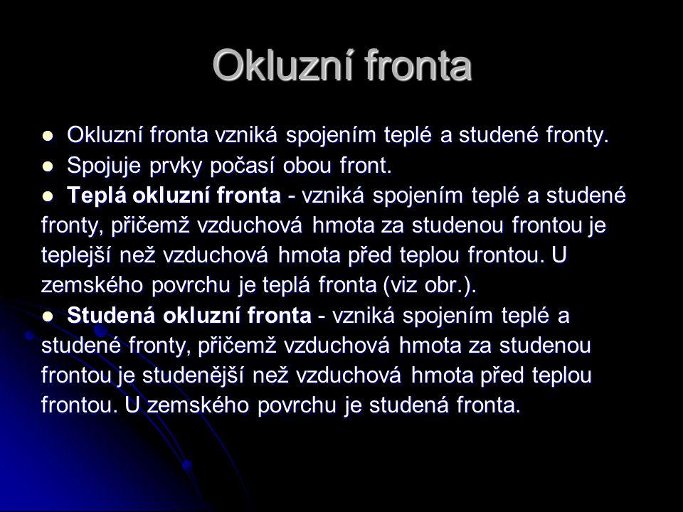 Okluzní fronta Okluzní fronta vzniká spojením teplé a studené fronty.