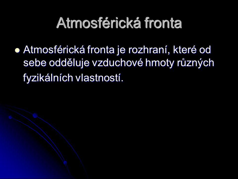 Atmosférická fronta Atmosférická fronta je rozhraní, které od sebe odděluje vzduchové hmoty různých.