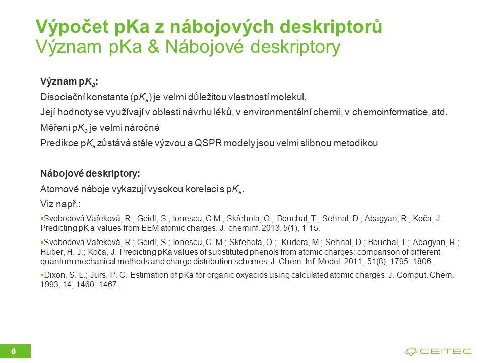 Výpočet pKa z nábojových deskriptorů Význam pKa & Nábojové deskriptory
