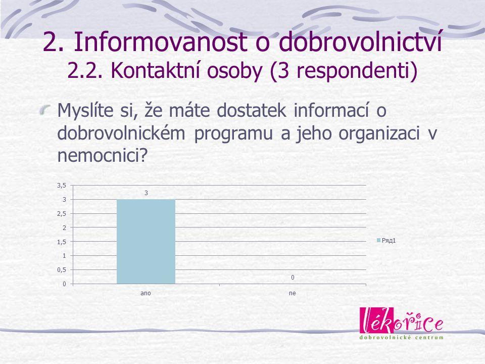 2. Informovanost o dobrovolnictví 2.2. Kontaktní osoby (3 respondenti)