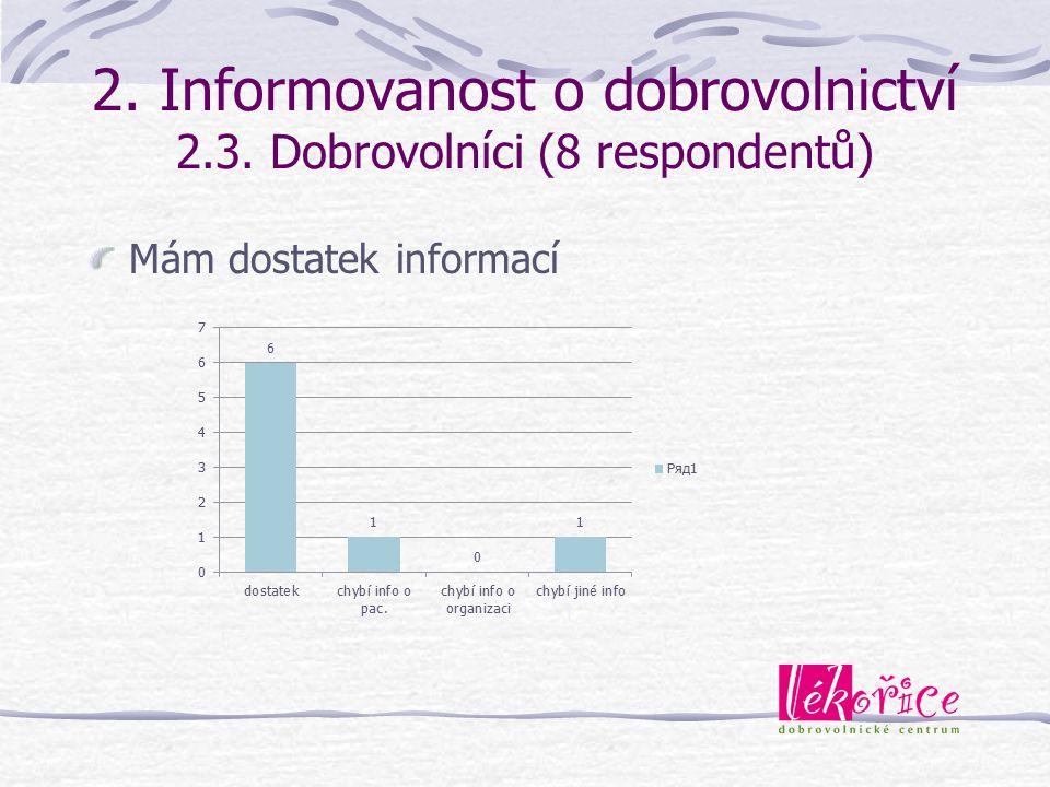 2. Informovanost o dobrovolnictví 2.3. Dobrovolníci (8 respondentů)