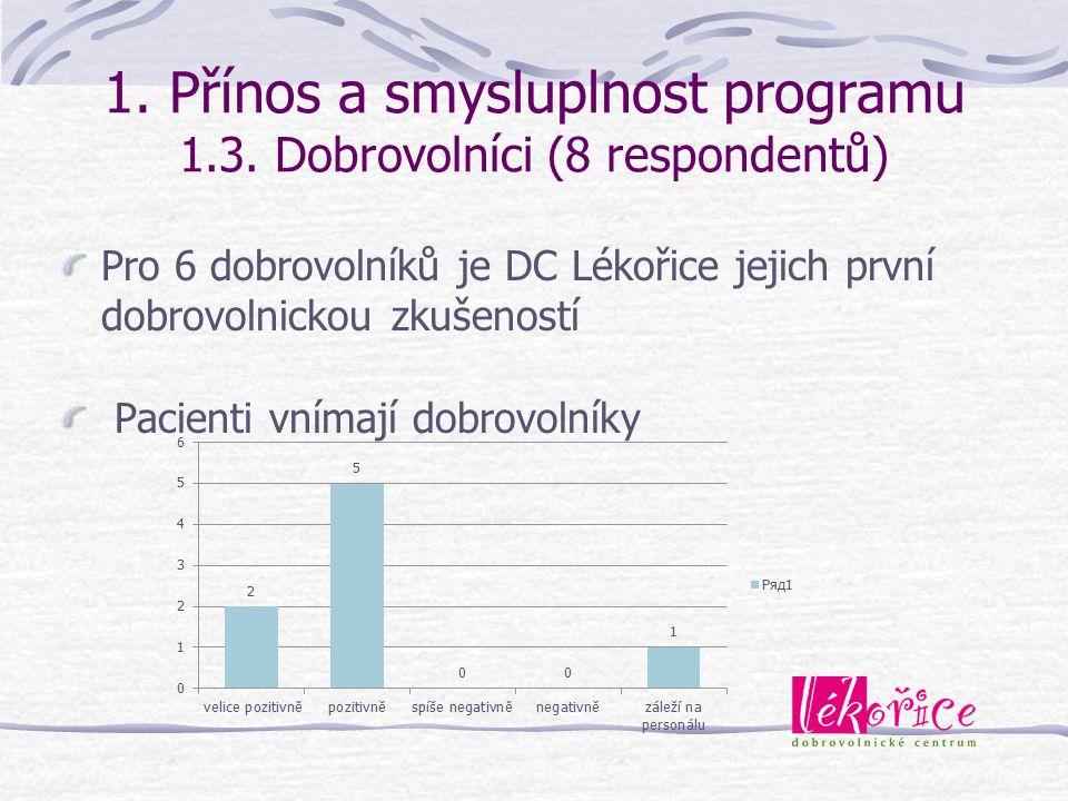 1. Přínos a smysluplnost programu 1.3. Dobrovolníci (8 respondentů)