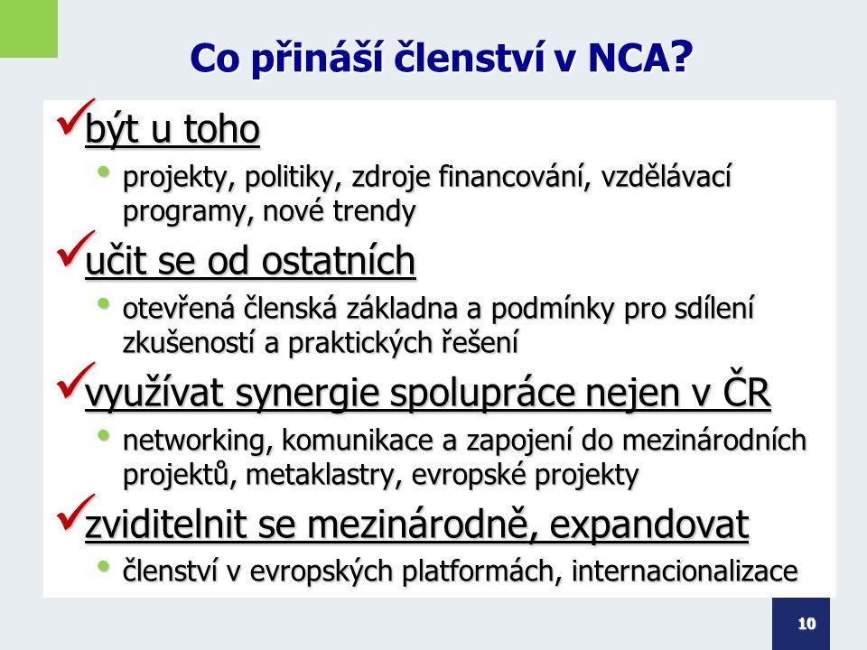 Co přináší členství v NCA