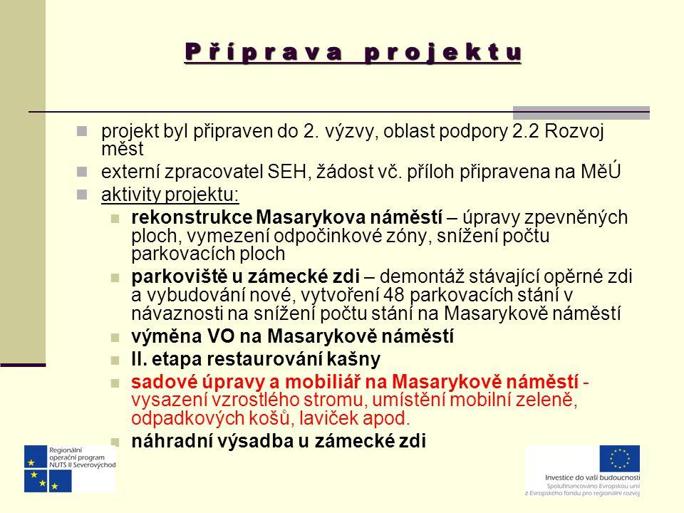 P ř í p r a v a p r o j e k t u projekt byl připraven do 2. výzvy, oblast podpory 2.2 Rozvoj měst.