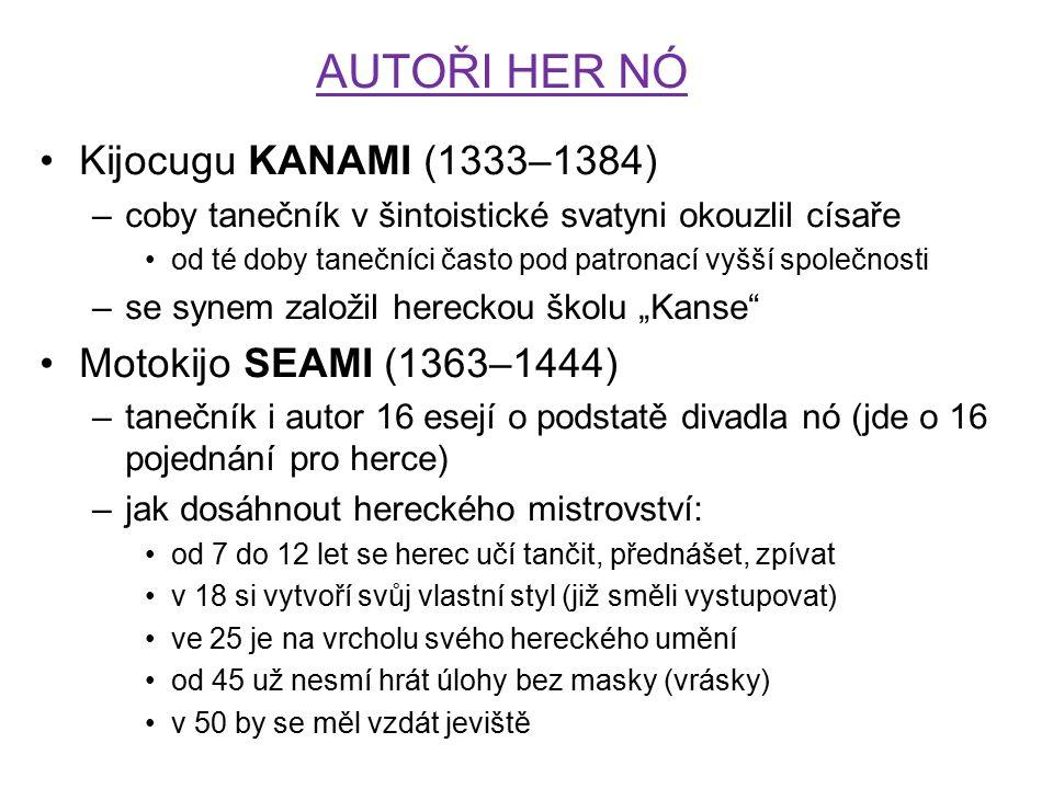 AUTOŘI HER NÓ Kijocugu KANAMI (1333–1384) Motokijo SEAMI (1363–1444)