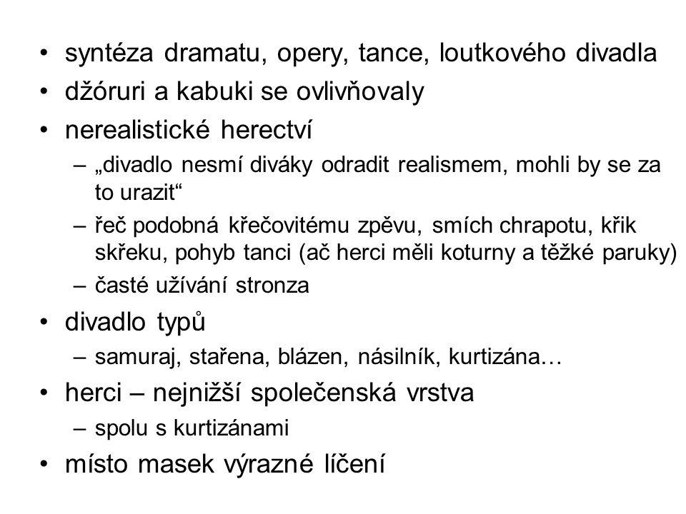 syntéza dramatu, opery, tance, loutkového divadla