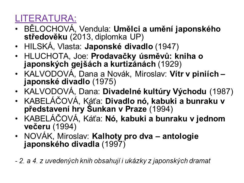 LITERATURA: BĚLOCHOVÁ, Vendula: Umělci a umění japonského středověku (2013, diplomka UP) HILSKÁ, Vlasta: Japonské divadlo (1947)