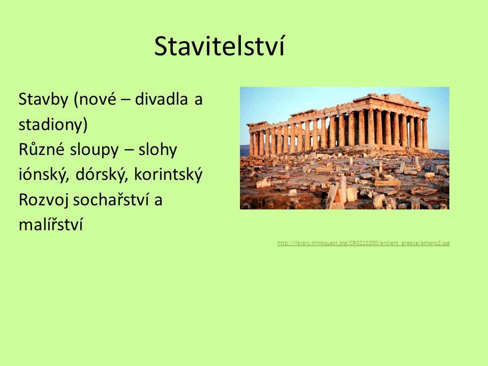 Stavitelství Stavby (nové – divadla a stadiony) Různé sloupy – slohy iónský, dórský, korintský Rozvoj sochařství a malířství