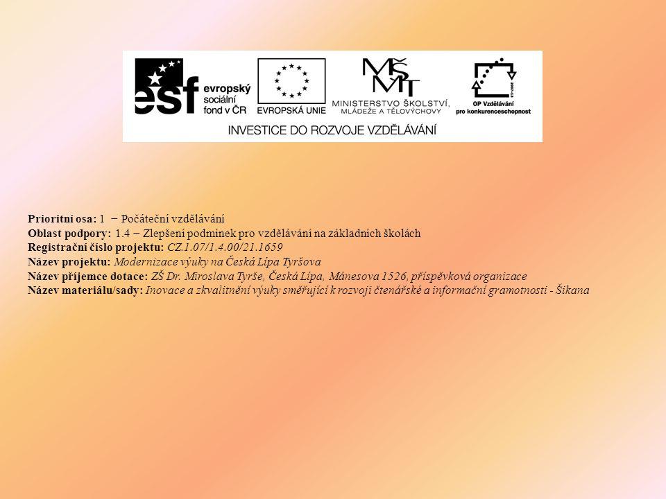 Prioritní osa: 1 − Počáteční vzdělávání