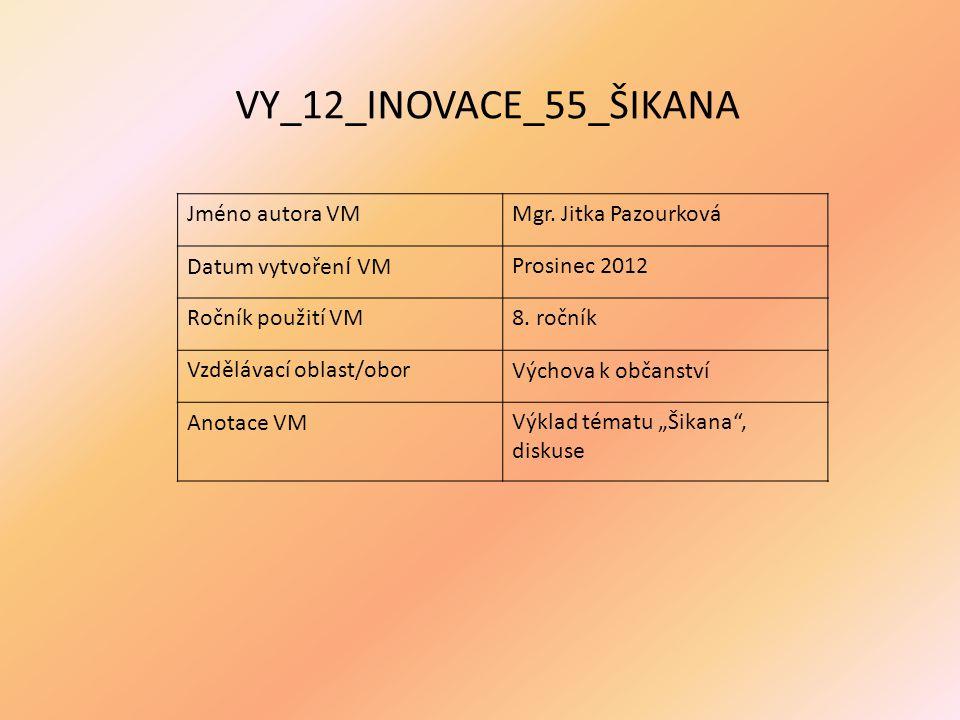 VY_12_INOVACE_55_ŠIKANA Jméno autora VM Mgr. Jitka Pazourková