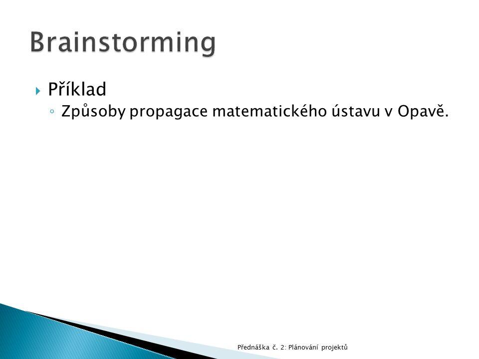 Brainstorming Příklad Způsoby propagace matematického ústavu v Opavě.