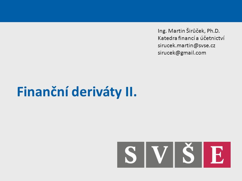 Finanční deriváty II. Ing. Martin Širůček, Ph.D.