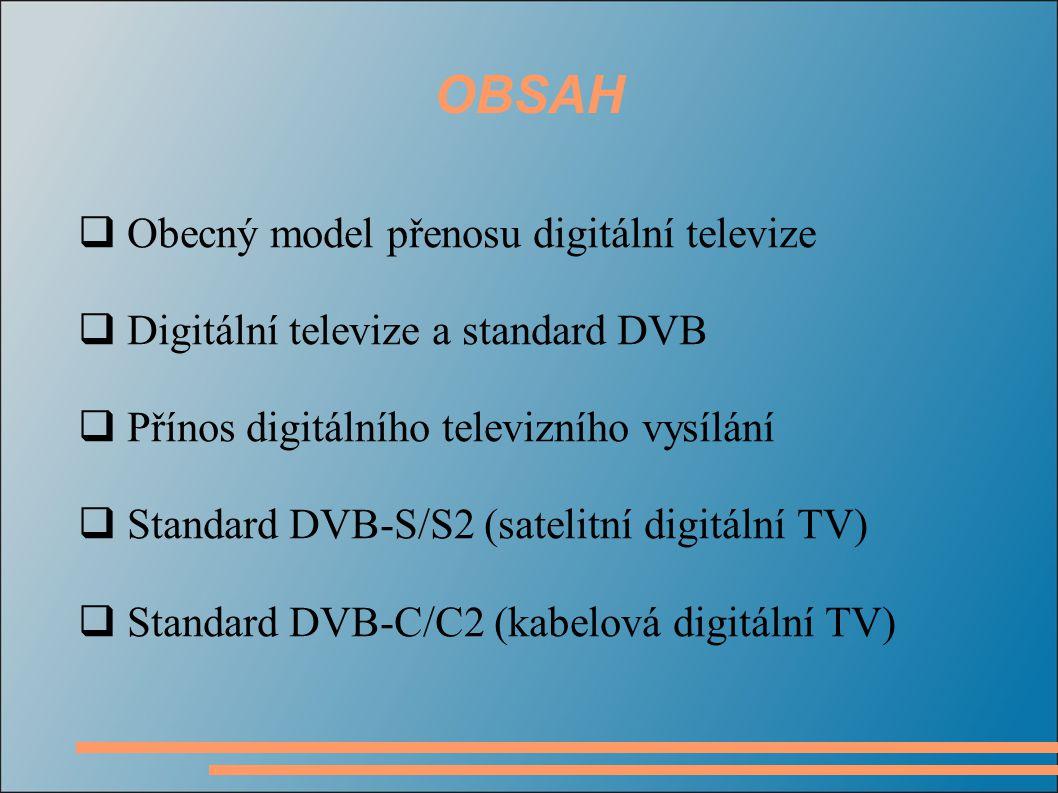 OBSAH Obecný model přenosu digitální televize