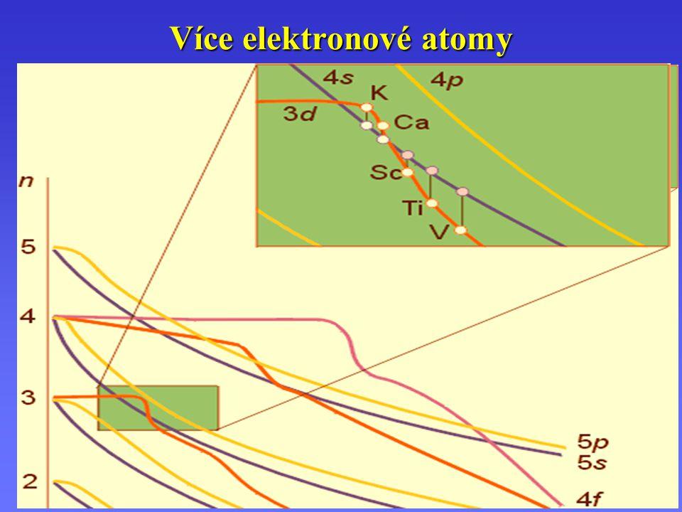 Více elektronové atomy